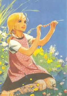 A young girl enjoys the warm sunshine of a summer's day during her school vacation Children's Book Illustration, Graphic Design Illustration, Pretty Drawings, Art Drawings, Fairytale Art, Colorful Paintings, Vintage Pictures, Illustrations Posters, Vintage Illustrations