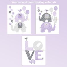 Purple And Gray LOVE Elephants Nursery wall art set. Modern design. Cute elephants, ballons and love word
