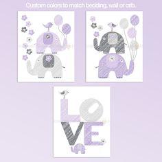 Purple And Gray LOVE Elephants Nursery wall art set. Modern design. Cute elephants, ballons and love word