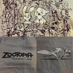 """bobbypontillas: """" Repost from @alleno4 . Zootopia anim crew shirts ! Design by Jen Hager and the collage of sketches are actually compiled draw-overs of our shots by our director Byron Howard (at Walt Disney Imagineering - Tujunga Warehouse) """""""