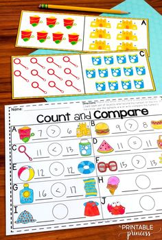 Summer Centers For Kindergarten {literacy And Math Activities images ideas from All About Kindergarten Counting Worksheets For Kindergarten, Subtraction Kindergarten, Kindergarten Freebies, Counting Activities, Teaching Math, Teen Numbers, Math Centers, Comparing Numbers, Summer School