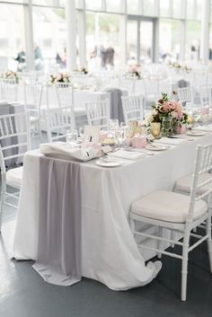 grey and white wedding linens and decor White Wedding Linens, Grey Wedding Decor, Silver Wedding Decorations, Wedding Table Linens, Wedding Table Settings, Silver Wedding Colours, Burgundy And Grey Wedding, White Silver Wedding, Grey Wedding Stationery