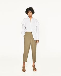 Image 1 of CROPPED TROUSERS WITH STRETCH WAIST from Zara