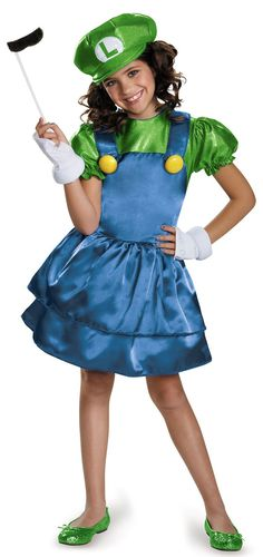 Super Mario Bros: Luigi w/Skirt Child Costume