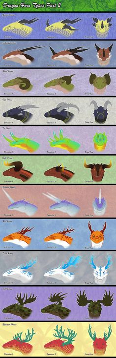This is the part of this: [link] I had to cut the data in two parts because it would be much too big. The antler horns are usually for asian dragons,. Dragon Horn Types Part 2 Dragon Horns, Ice Dragon, Types Of Dragons, Dragon Artwork, Wings Of Fire, Drawing Techniques, Art Tutorials, Art Reference, Concept Art