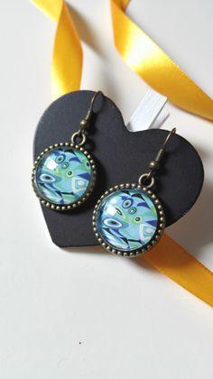 Boucles d'oreilles cabochons bleues bronze geek : Boucles d'oreille par miss-perles