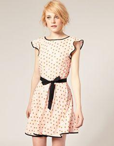 ASOS Belted Tea Dress in Heart Print
