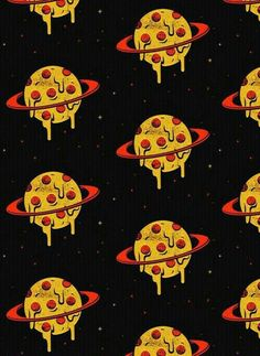 pizza, wallpaper, and planet image I Wallpaper, Pattern Wallpaper, Wallpaper Backgrounds, Planets Wallpaper, Hipster Wallpaper, Pizza Kunst, Pizza Art, Art Tumblr, Pizza Planet