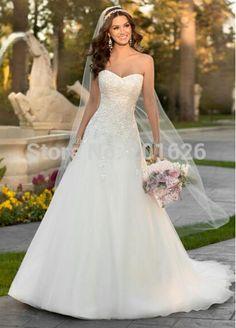 A-linje Princess Applikationer Longo midjan Sweetheart Applikationer Romantisk bröllopsklänningar