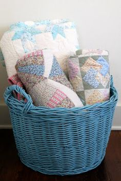 A Basket, a Sconce, and a Topiary - Miss Mustard Seed Old Quilts, Antique Quilts, Small Quilts, Vintage Quilts, Quilt Storage, Quilt Racks, Quilt Hangers, Quilt Ladder, Quilt Display