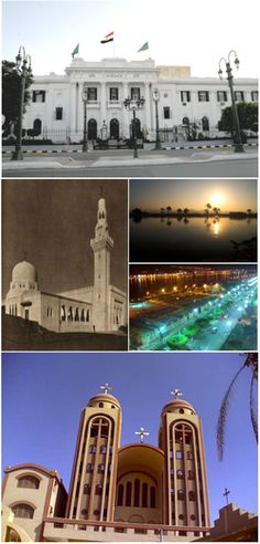 Top:Minya Governorate Hall, Middle left:Al-Minya Mosque, Middle upper right:View of sunrise in Mile River, Middle lower right:Night view of Qism Minya Square and Horria Street, Bottom:Abu Hur Coptic Church