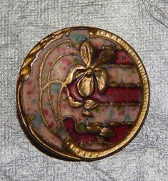 Antique French Champleve Enamel Gilt Button Pinks with Flower #764b #Unknown