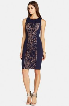 BCBGMAXAZRIA Lace & Ponte Knit Sheath Dress available at #Nordstrom