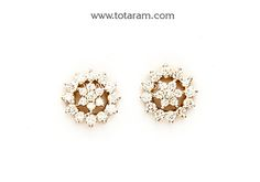 Diamond Earrings for Women in 18K Gold - DER867 - Indian Jewelry from Totaram Jewelers