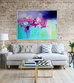 Abstract Canvas Painting  Title: Gifted  Size:30x40  This is an original artwork, handpainted in acrylics on canvas. The sides are painted, so it is