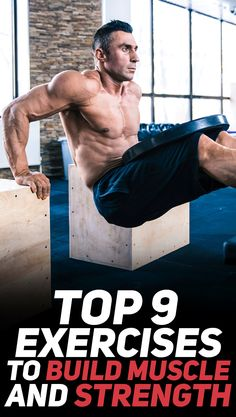 Check out the top 9 exercises to build muscle and strength! #fitness #muscle #strength #gym #exercise #workout #exercises #bodybuilding