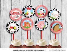Farm Cupcake Toppers Animlas Party Toppers by TheLovelyDesigns Farm Cupcake Toppers, Cow Cupcakes, Farm Birthday, Farm Party, Party Printables, First Birthdays, Ideas Para, Etsy, Link