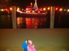 Patsy & Paulie enjoy the Peace River Lighted Boat Parade in Punta Gorda, Florida