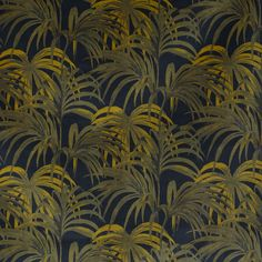 Palmeral Luxury Cotton Velvet Midnight & Green