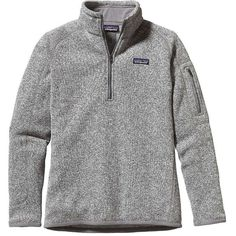 Patagonia Women's Better Sweater 1/4 Zip ($99) ❤ liked on Polyvore featuring tops, birch white, jersey top, white jersey, zip front top, white top and patagonia