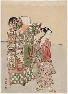 Young Man Selling Fans  団扇売り Japanese Edo period about 1766–67 (Meiwa 3–4) Artist Suzuki Harunobu (Japanese, 1725–1770)