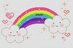rainbow and clouds Unicorn Cross Stitch Pattern, Cross Stitch Baby, Cross Stitch Kits, Cross Stitch Patterns, C2c, Cross Stitching, Cross Stitch Embroidery, Cross Stitch Quotes, Palestinian Embroidery