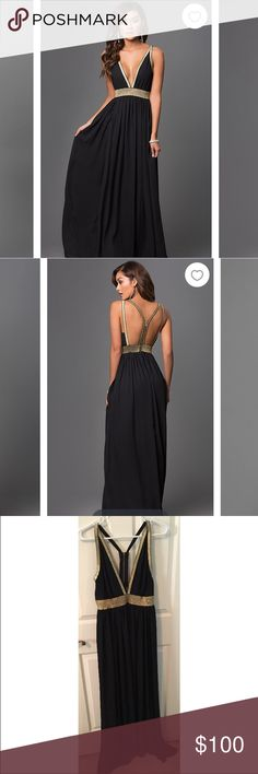 Promgirl dress Long black dress with gold detailing. Deep V and open back. Worn once Dresses Prom
