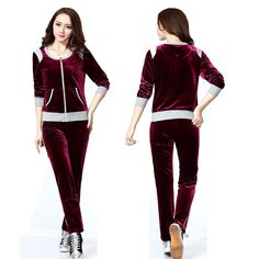 New Women Runway Vintage Print Active Wear Velour Tracksuit Pocket Design Fashion Leisure Cardigans with Hot Slim Trousers Guy Pictures, Fashion Pictures, Cardigan Fashion, Hoodies, Sweatshirts, New Woman, Vintage Prints, New Fashion, Cardigans