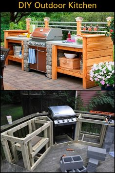 DIY outdoor kitchenThis is a great example of an outdoor kitchen project that break your Incredible Outdoor Kitchen Design Ideas For Summer Awesome 95 Incredible Out Incredible Outdoor Kitchen Design Ideas For Modern Outdoor Kitchen, Build Outdoor Kitchen, Backyard Kitchen, Diy Kitchen, Rustic Outdoor Kitchens, Summer Kitchen, Out Door Kitchen Ideas, Kitchen Garden Ideas, Covered Outdoor Kitchens