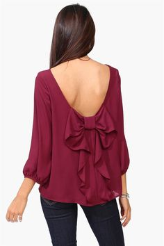 Waldorf Bow Blouse in Burgundy: great top for Fall !! Get 8% cash back http://www.studentrate.com/itp/get-itp-student-deals/Necessary-Clothing-Student-Discount--/0