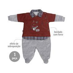 6a46ec853f Macacão Bebê Menino em Plush com Sobreposição Vinho - Sonho Mágico    764  Kids