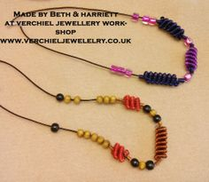 Made by Beth & Harriett at verchiel Jewellery workshop.  Beads handmade with the wire gizmo.