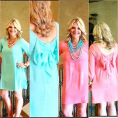 Bow back dresses in mint and coral  www.bbcboutique.com