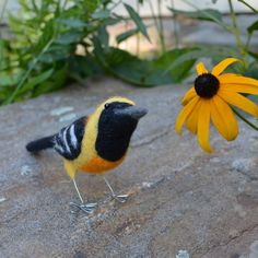 Mr. Hooded Oriole needle felted bird fiber art by TCMfeltDesigns