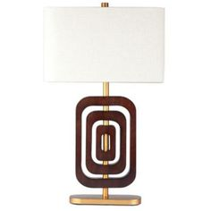 Coco 2 Ring Chestnut Wood Gold Table Lamp - on lamps plus!