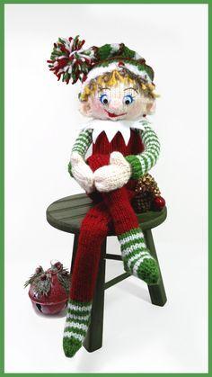 Shelby the Shelf Elf - Free Tutorial Crochet Dolls Free Patterns, Knitting Patterns Free, Free Knitting, Baby Knitting, Bear Patterns, Knitted Baby, Christmas Toys, All Things Christmas, Christmas Decorations