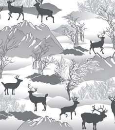 Snuggle Flannel Fabric-Silhouette Deer Winter