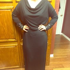 Size 18 Black cotton dress Beautiful cowl neck black dress. Worn 4-5 times, in perfect condition. This dress is great for getting a little fancied up for a date with your hunny. Cato Dresses Maxi