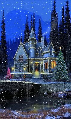 christmas house snow gif animated christmas wallpaper for your phone sparkles and snows Christmas Scenes, Noel Christmas, Vintage Christmas Cards, Christmas Pictures, Christmas Greetings, Winter Christmas, Christmas Lights, Winter Snow, Christmas Decorations