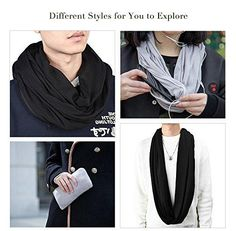 Womens Solid Color Infinity Fashion Scarves Wrap White Zipper Pocket,T – GCWriting