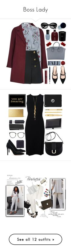 """Boss Lady"" by mary-carter321 ❤ liked on Polyvore featuring Valentino, Yves Saint Laurent, Givenchy, NYX, Deborah Lippmann, Christian Dior, Acne Studios, Oribe, Tom Daxon and Clé de Peau Beauté"
