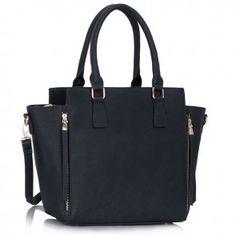 Geanta Abbie Leather Fashion, Tote Handbags, Fashion Bags, Designer Handbags, All Black, Pet Supplies, Totes, Zipper, Tote Bag