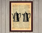 Teapot coffee pot print Rustic kitchen dining room cafe decor  Vintage Retro poster Dictionary page Home interior 0013