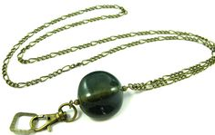 Lanyard Beautiful Blue Stone in Antique Brass by byBrendaElaine