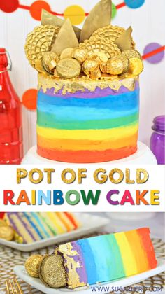 Pot of Gold Rainbow Cake - with EIGHT rainbow layers and sparkling edible gold treats on top! Rainbow Desserts, Rainbow Food, Rainbow Cupcakes, Rainbow Layer Cakes, Cake Recipes, Dessert Recipes, Brownie Recipes, Cupcake Videos, Frozen Chocolate