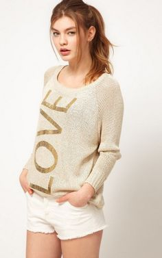 Fashion Golden Love Prints Sweater - $19.9 FREE SHIPPING