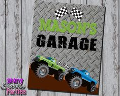 Printable MONSTER TRUCK Party SIGN - Monster Truck Birthday Party Decor - Monster Truck Birthday Decoration - Monster Truck Party Sign