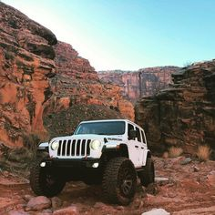 White Jeep in the canyons Jeep Jl, Old Jeep, Jeep Cars, Jeep Truck, White Jeep Wrangler, Jeep Rubicon, Jeep Wrangler Unlimited, My Dream Car, Dream Cars