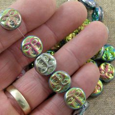 Iridescent Moon Face 13mm Glass Beads 50% off qty 20 by XOSupplies