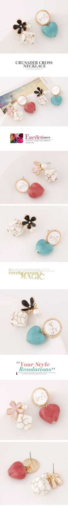 Asymmetric Earrings, Zinc Alloy, with Resin, Heart, gold color plated, lead & cadmium free, 25x14x14mm,china wholesale jewelry beads